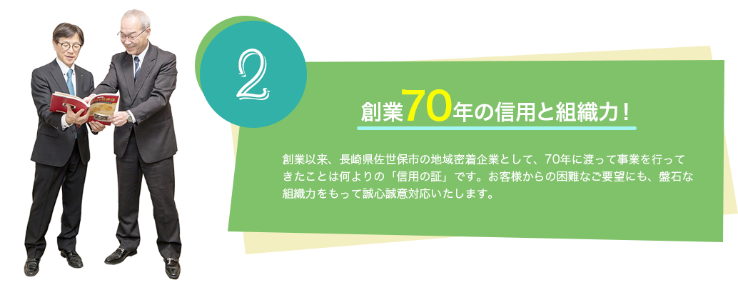 創業70年の信用と組織力!